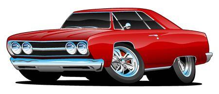 Illustrazione di vettore isolata del fumetto classico dell'automobile del muscolo