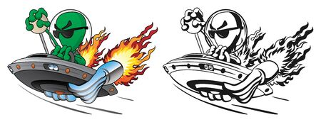 UFO Alien Hot Rod Isolated Vector Illustration in Full Color and Line Art  イラスト・ベクター素材