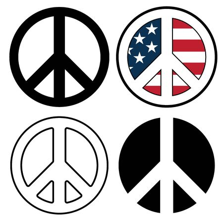 Peace Sign Symbols Isolated Vector Illustration