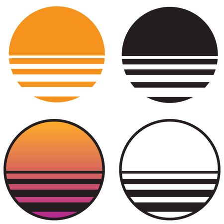 Classic Retro Sun Sunset isolated vector illustration in solid color, gradient color, and black and white versions Banco de Imagens - 131800792