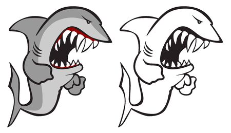 Shark Cartoon Isolated Vector Illustration