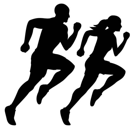 Male Runner and Female Runner Silhouette Isolated Vector illustration