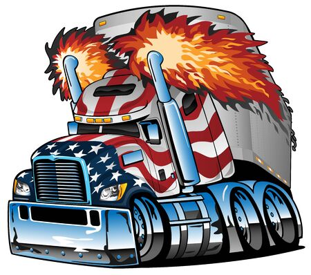 Patriotic American Flag Semi Truck Tractor Trailer Big Rig Cartoon Isolated Vector Illustration