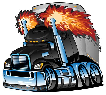 Semi Truck Tractor Trailer Big Rig, Black, Flaming Exhaust, Lots of Chrome, Cartoon Isolated Vector Illustration Stock Illustratie