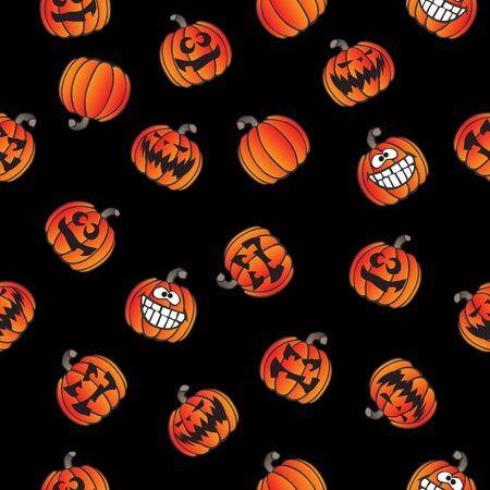 Fun Halloween Pumpkins Seamless Repeating Pattern Vector Illustration