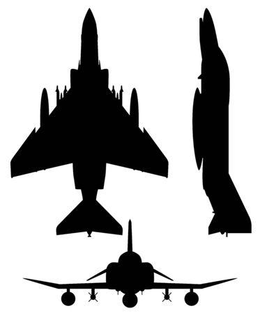 F-4 Phantom II Avion de chasse militaire Silhouette Vector Illustration Vecteurs