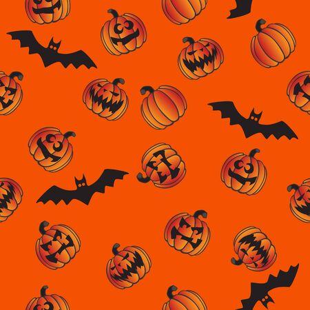 Halloween Jack O Lantern Pumpkins and Bats Seamless Repeating Pattern Vector Illustration