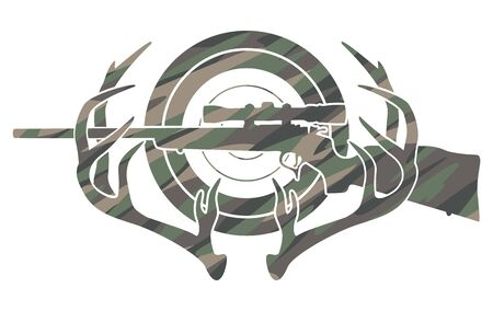 Camouflage Hunting and Shooting Sports Logo Isolated Vector Illustration Stock Illustratie