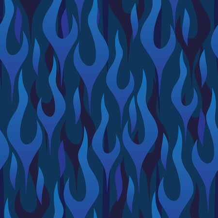 Blue Flames Seamless Repeating Pattern Vector Illustration