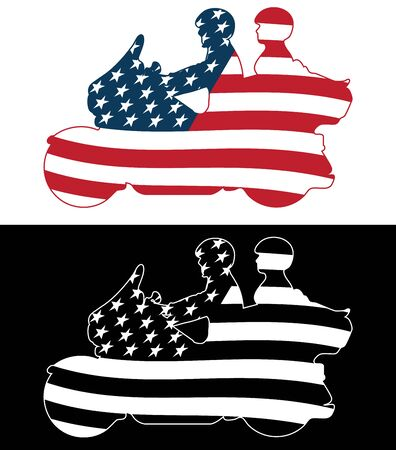 Patriotic American Flag Touring Motorcycle Isolated Silhouette Vector Illustration