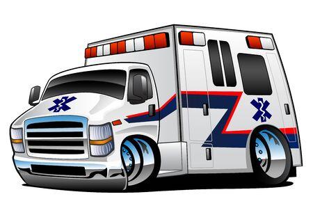 Weißer Sanitäter Krankenwagen Rettungswagen Cartoon Isolierte Vektor-Illustration Vektorgrafik