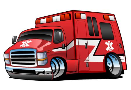 Red Paramedic EMT Ambulance Rescue Truck Cartoon Isolated Vector Illustration