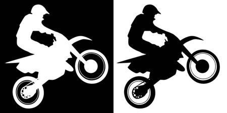 Motocross Rider and Motorcycle Silhouette Isolated Vector Illustration