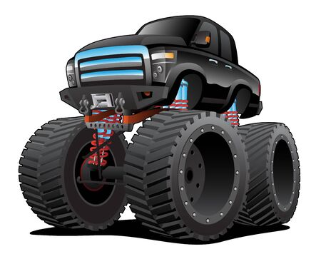 Monster Pickup Truck Cartoon Isolated Vector Illustration