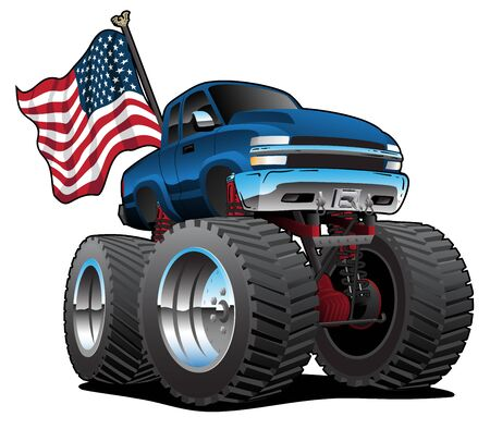 Monster Pickup Truck with USA Flag Cartoon Isolated Vector Illustration