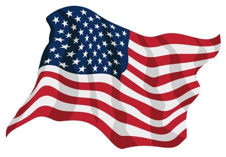 American Pride USA Flag Waving Isolated Vector Illustration