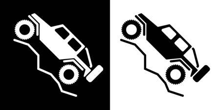 Hors route 4 roues motrices Logo de véhicule récréatif isolé Vector Illustration