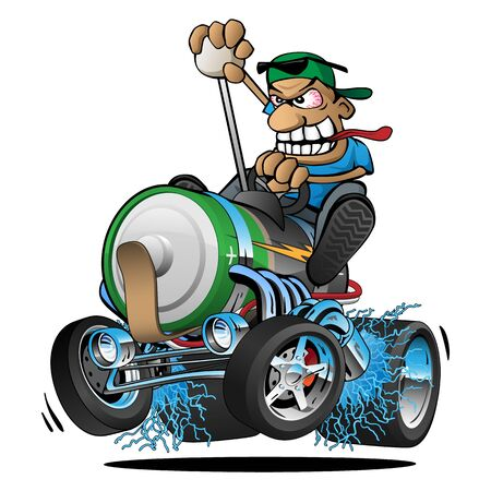 Hot Rod Battery Powered Electric Car Cartoon Isolated Vector Illustration  イラスト・ベクター素材