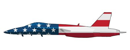 American Flag Military Fighter Jet Airplane Isolated Vector Illustration  イラスト・ベクター素材