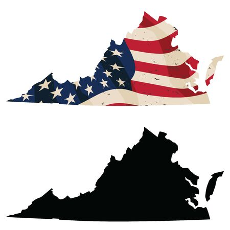 Virginia with aged USA flag embedded and black silhouette isolated vector illustration