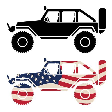 4x4 vehicle with USA flag and black isolated vector illustration