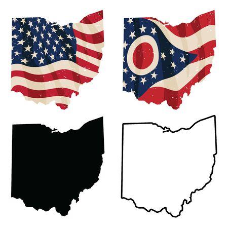 Ohio with USA flag, Ohio flag, black silhouette and black outline isolated vector illustration Ilustracja