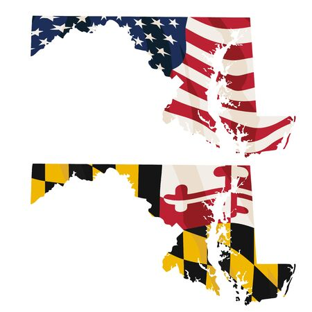 Maryland with USA flag and Maryland flag embedded isolated vector illustration 일러스트
