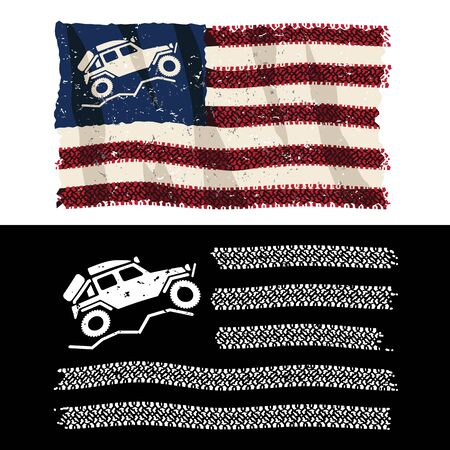 American Over Lander 4x4 Off Road Adventure Patriotic Tire Tread Flag Isolated Vector Illustration 스톡 콘텐츠 - 133200026