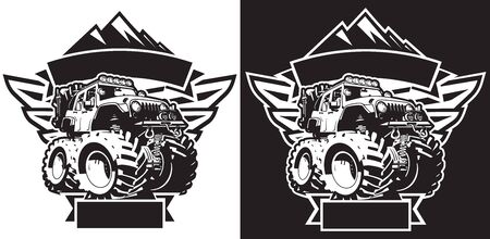 4x4 Off Road Sign T-shirt Template Logo Black and White Isolated Vector Illustration