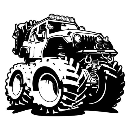 4x4 Off Road Black and White Cartoon Isolated Vector Illustration Foto de archivo - 133200033