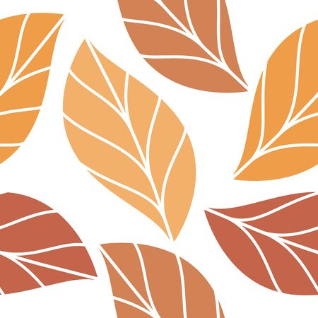 Autumn Colored Leaves Seamless Repeating Pattern Isolated Vector Illustration