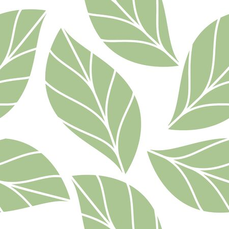 Soft Green Leaves  Seamless Repeating Pattern Isolated Vector Illustration