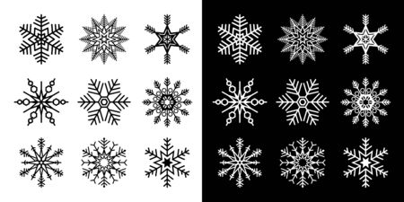 Snowflakes set isolated vector illustration in both black and white versions