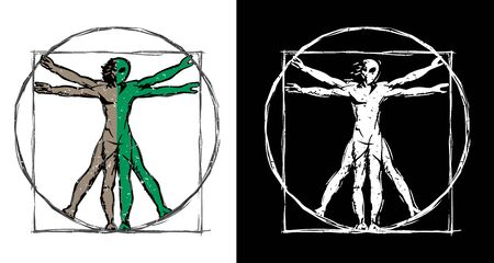 Vitruvian Man UFO Alien Hybrid Sketch Isolated Vector Illustration Illustration