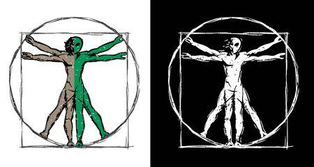 Vitruvian Man UFO Alien Hybrid Sketch Isolated Vector Illustration Ilustração