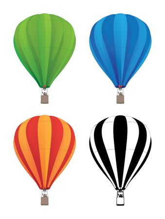 Hot Air Balloon Set in Green, Blue, Red Orange, and Black Line Art, Isolated Vector Illustration