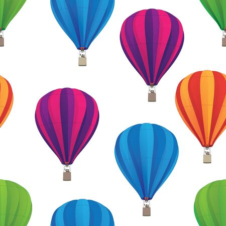 Hot Air Balloon Seamless Repeating Pattern Isolated Vector Illustration  イラスト・ベクター素材