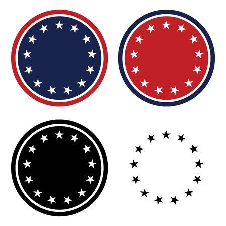 Patriotic 13 Stars Circle Set Isolated Vector Illustration 矢量图像