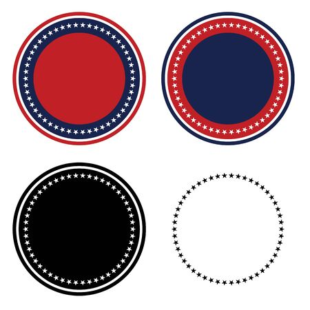 Patriotic 50 Stars Circle Set Isolated Vector Illustration 일러스트