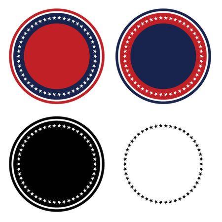 Patriotic 50 Stars Circle Set Isolated Vector Illustration Illustration