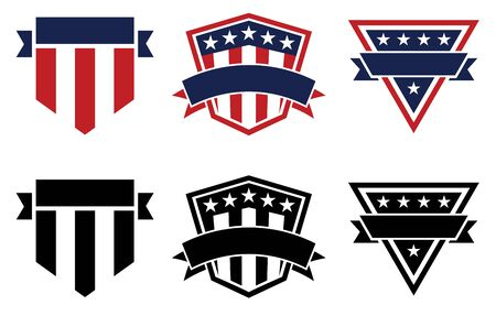 American Pride Patriotic Stars and Stripes Logos, Red White, Blue and Black, Isolated Vector Illustration Illustration