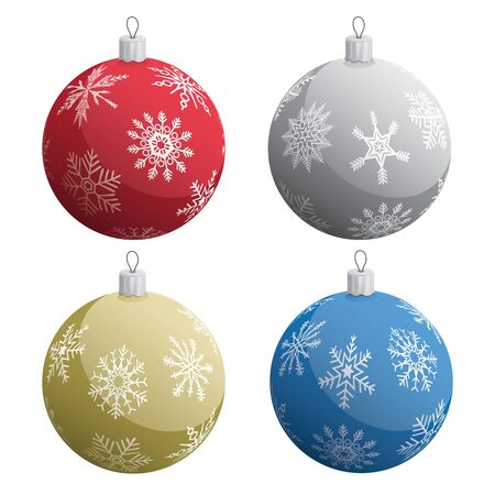 Realistic Christmas Tree Ornaments Set Isolated Vector Illustration  イラスト・ベクター素材