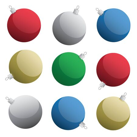 Assorted Shiny Glass Christmas Ornaments Isolated Vector Illustration
