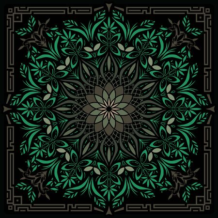Psychedelic Mandala Geometric Color Vector Illustration Ilustração