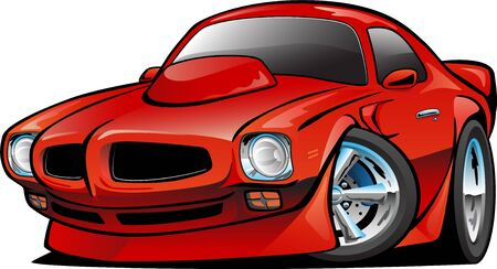 Seventies American Classic Muscle Car Cartoon Isolated Vector Illustration