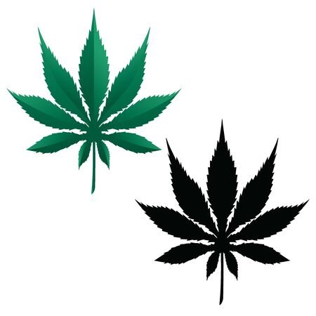 Marijuana Pot Leaf Isolated Vector Illustration In Color and Black