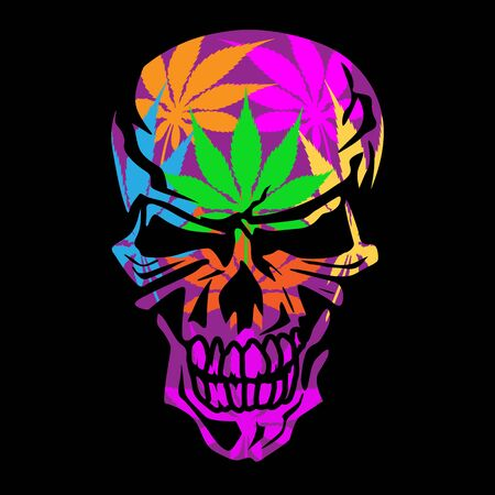 Psychedelic Skull Isolated Vector Illustration  イラスト・ベクター素材
