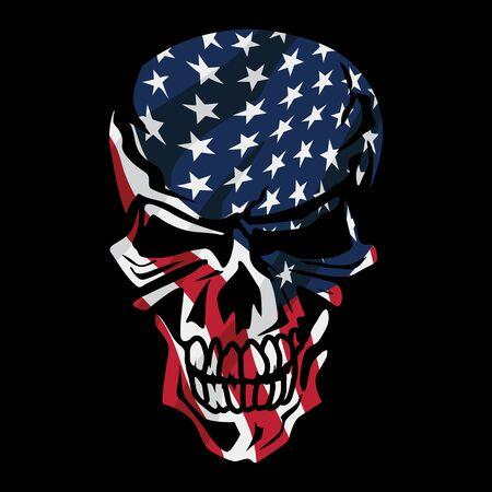 American Flag Skull Isolated Vector Illustration Illustration
