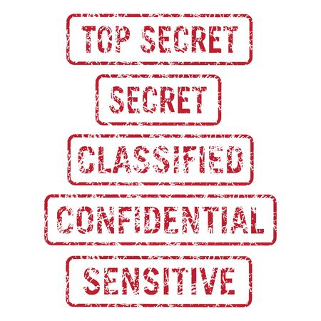 Information Security Top Secret, Secret, Classified, Confidential and Sensitive Stamps Distressed Isolated Vector Illustration Vecteurs