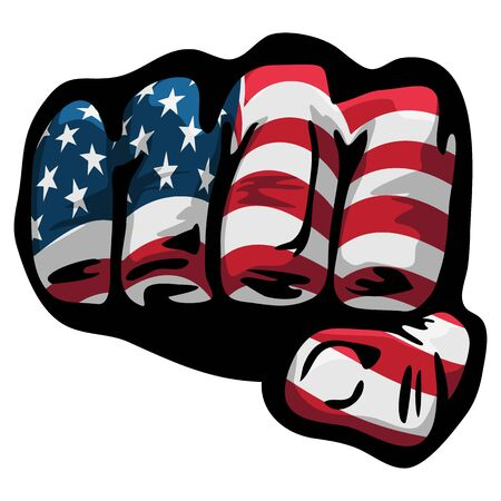 American Flag Fist Isolated Vector Illustration